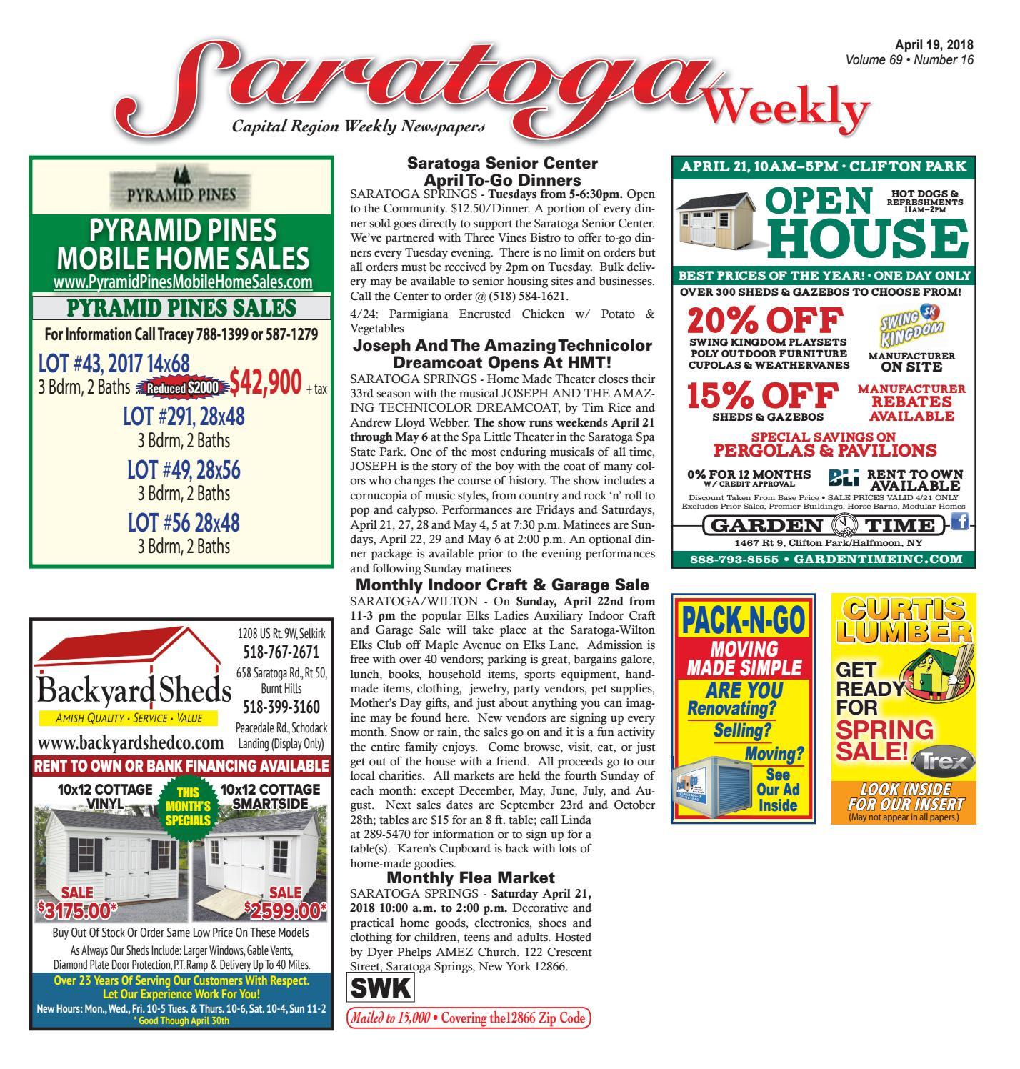7cf645c6a2 Saratoga Weekly 041918 by Capital Region Weekly Newspapers - issuu