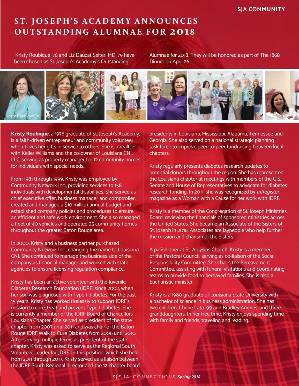 SJA Connections (Spring 2018) by St  Joseph's Academy - issuu
