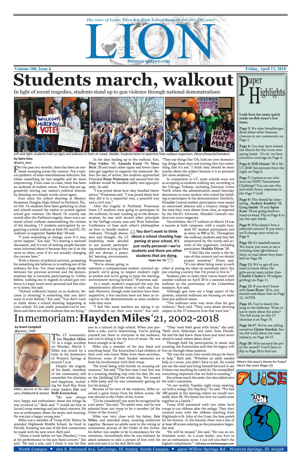 Issue 6 4 13 18 by Lion Newspaper - issuu