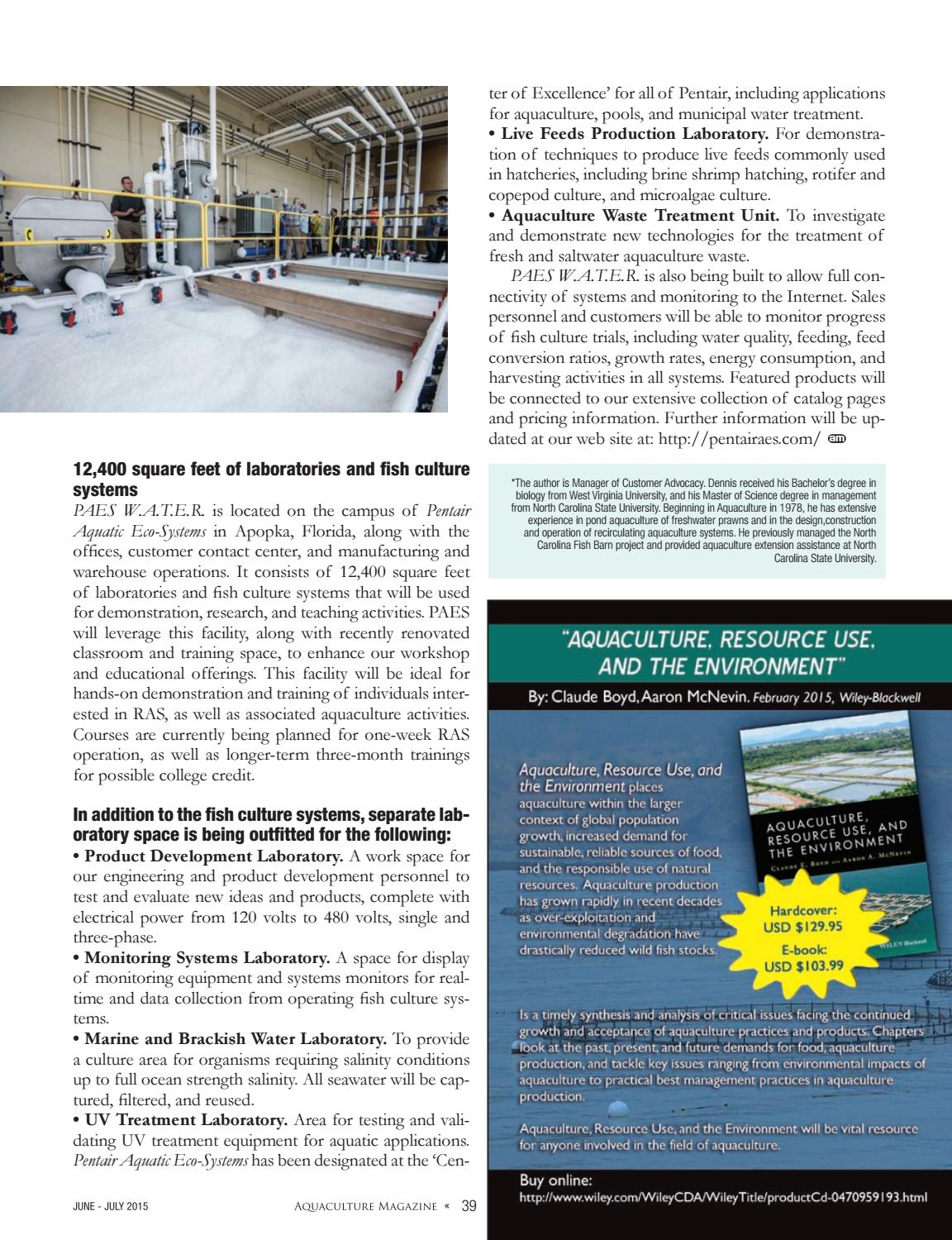 Aquaculture Magazine June / July 2015 Volume 41 Number 3 by