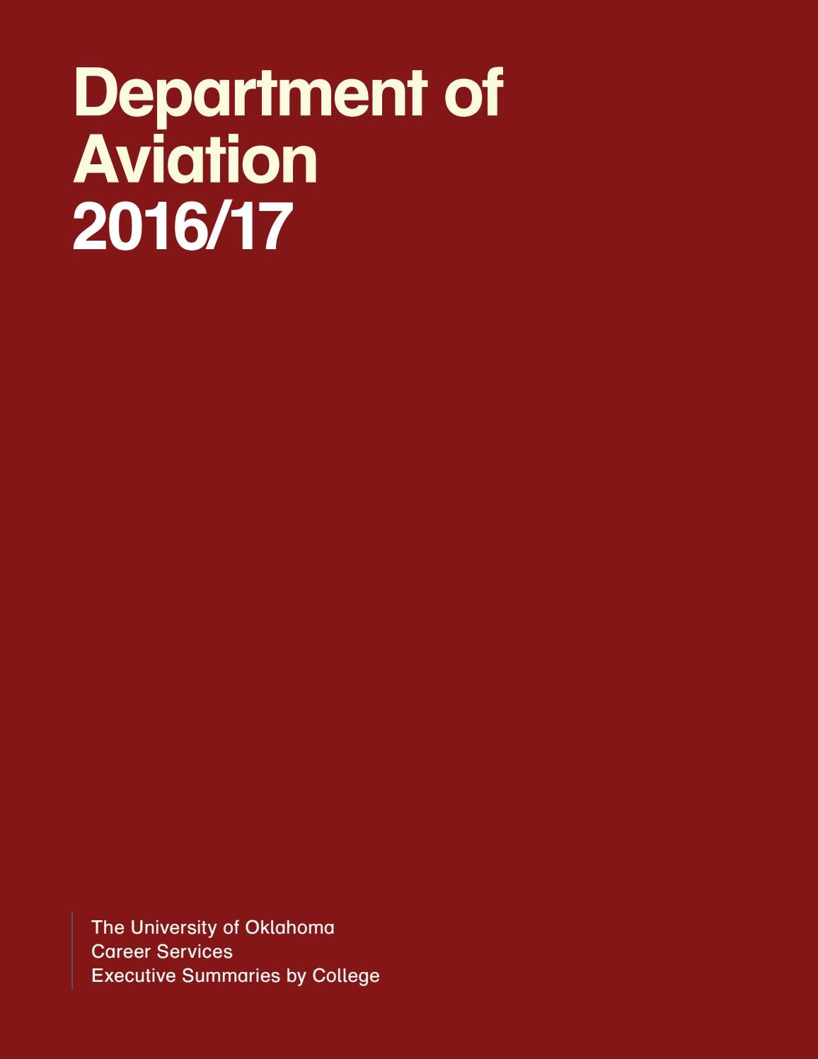 OU Career Services Department of Aviation 2016-17 Executive Summary