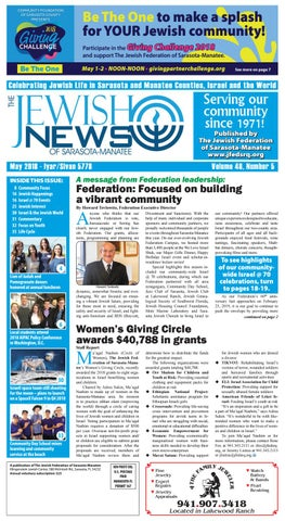 the jewish news - may 2018 by the jewish federation of sarasota ...