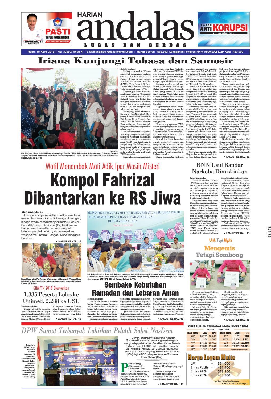 Epaper Andalas Edisi Rabu 18 April 2018 By Media Issuu Produk Ukm Bumn Tas Ransel Threepoint