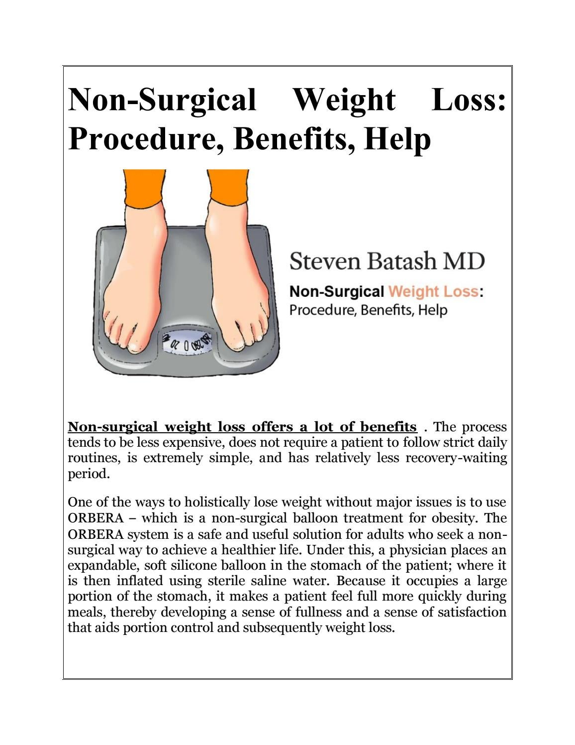 Non Surgical Weight Loss Procedure Benefits Help By Steven Batash