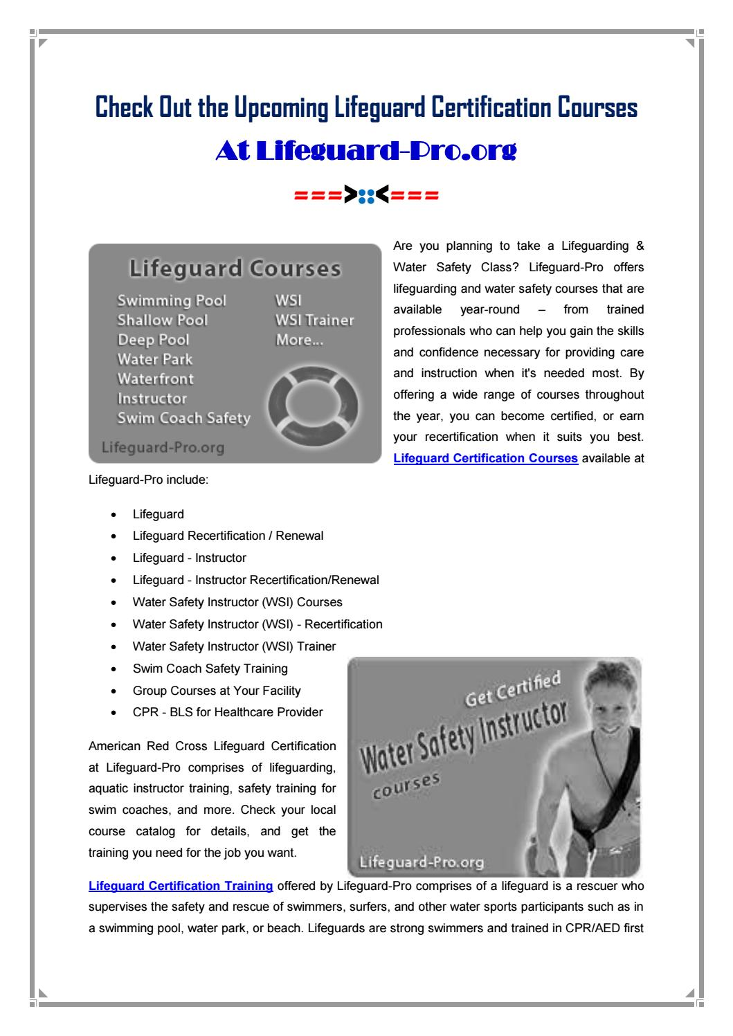 Lifeguard Certification Courses At Lifeguard Pro By Lifeguard