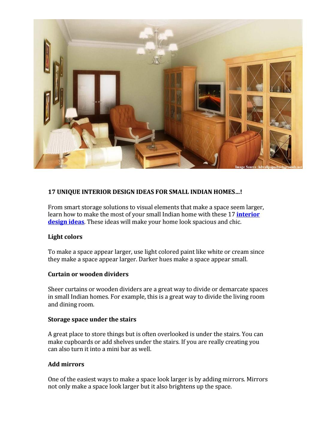 17 Unique Interior Design Ideas For Small Indian Homes By Idprop Issuu