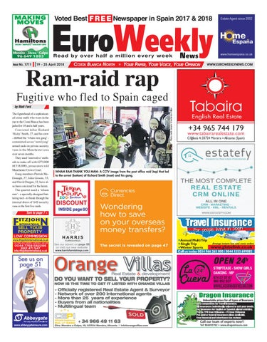 Euro weekly news costa blanca north 19 25 april 2018 issue 1711 page 1 fandeluxe Images