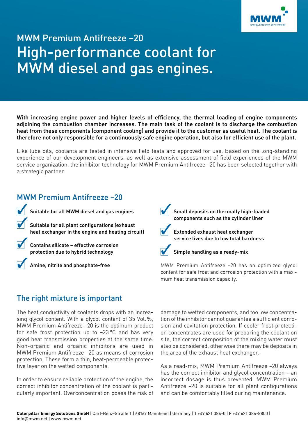 MWM Premium Antifreeze -20 en by MWM Gas Engines