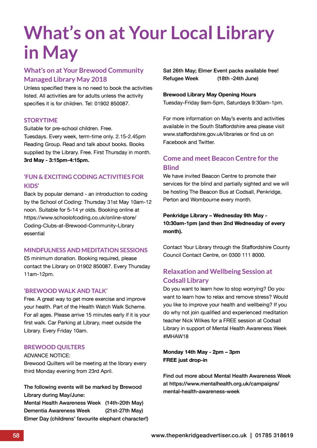 By Popular Demand Another Free Talk At >> The Penkridge Advertiser May 2018 By The Penkridge Advertiser Issuu