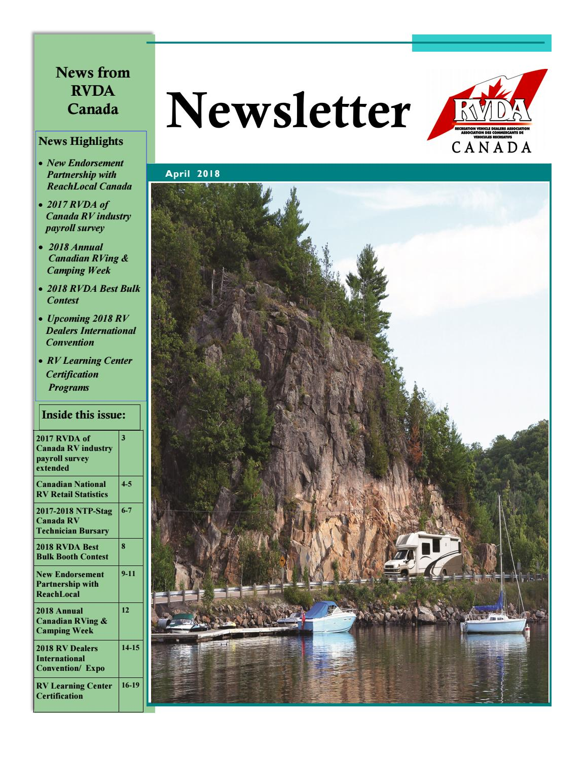 2018 April Newsletter By Rv Dealers Association Of Canada