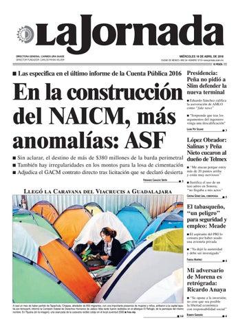 MIÉRCOLES 18 DE ABRIL DE 2018 CIUDAD DE MÉXICO • AÑO 34 • NÚMERO 12113 •  www.jornada.unam.mx