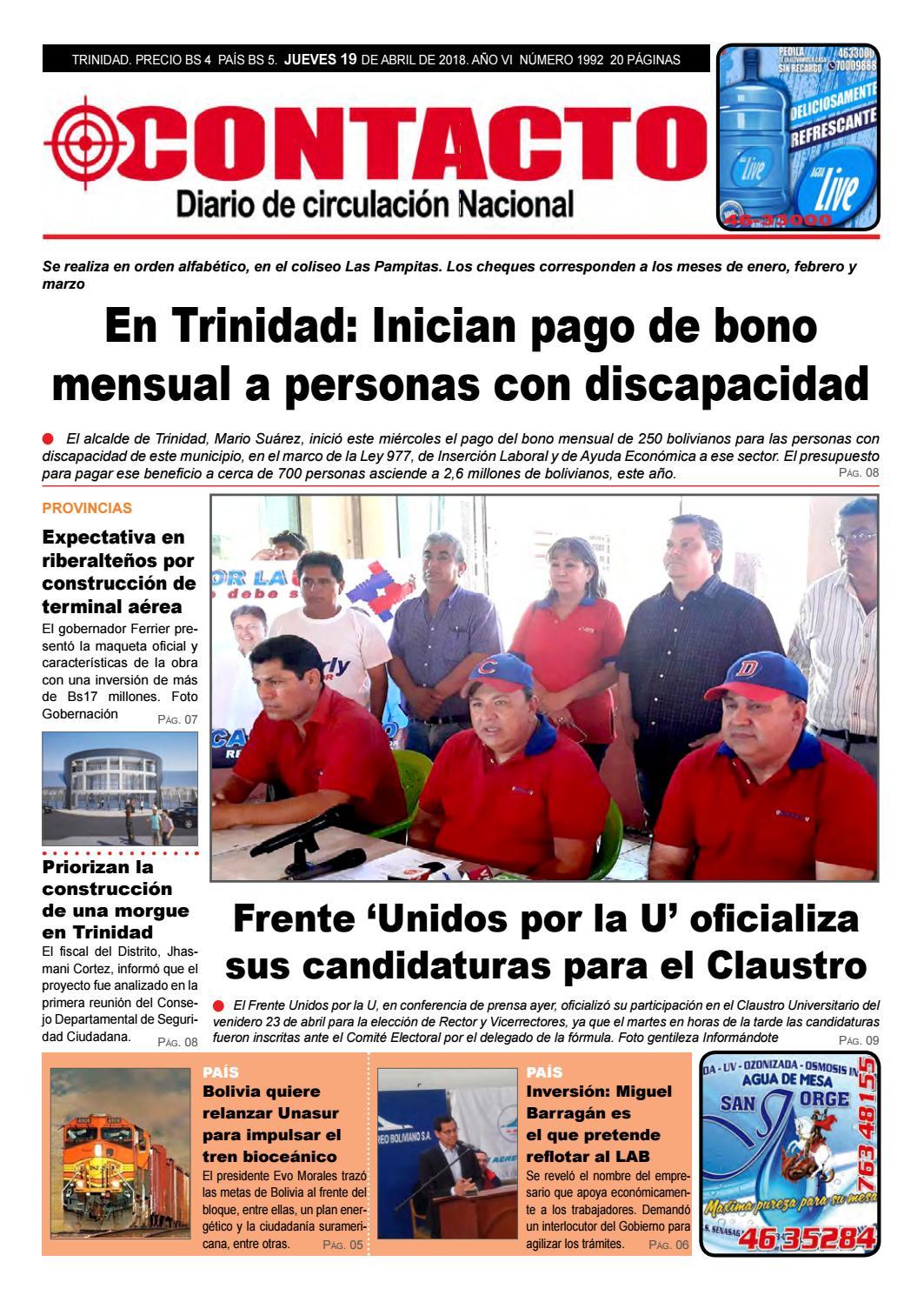 Contacto19042018 by Diario Contacto (Beni - Bolivia) - issuu