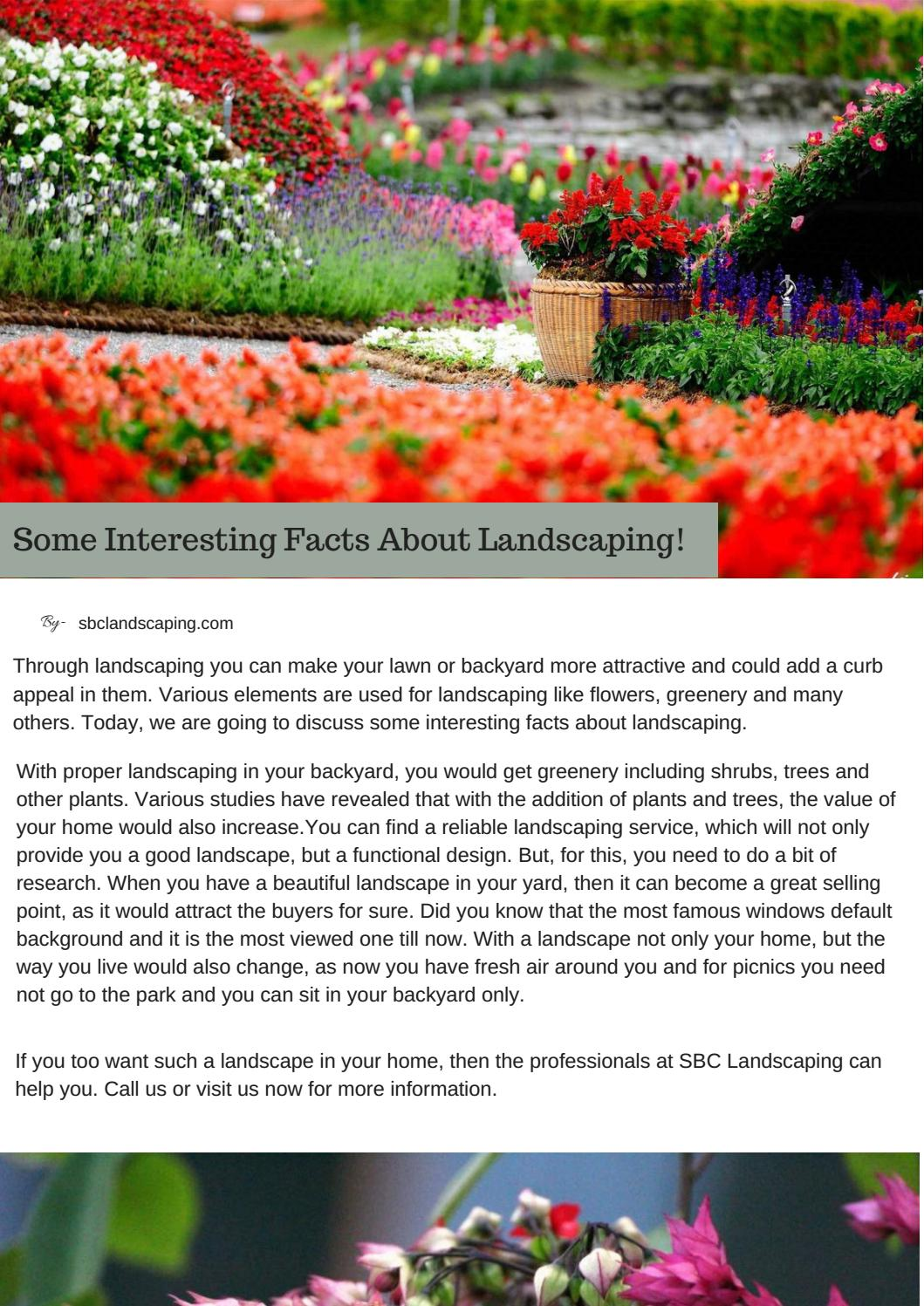 Some Interesting Facts About Landscaping! By SBC Landscaping ...