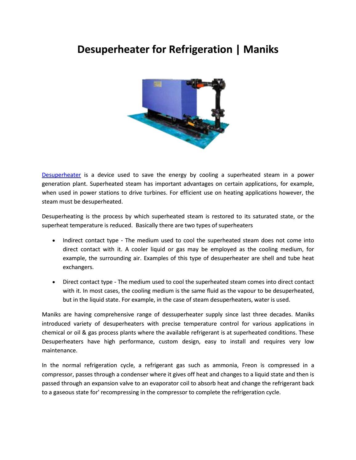 Desuperheater for refrigeration maniks by Nikita patil - issuu