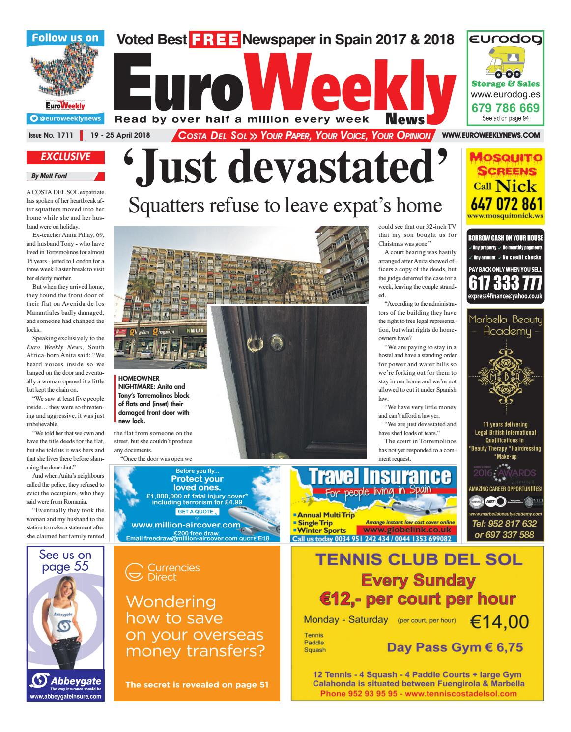 euro weekly news costa del sol 19 \u2013 25 april 2018 issue 1711 by  euro weekly news costa del sol 19 \u2013 25 april 2018 issue 1711 by euro weekly news media s a issuu
