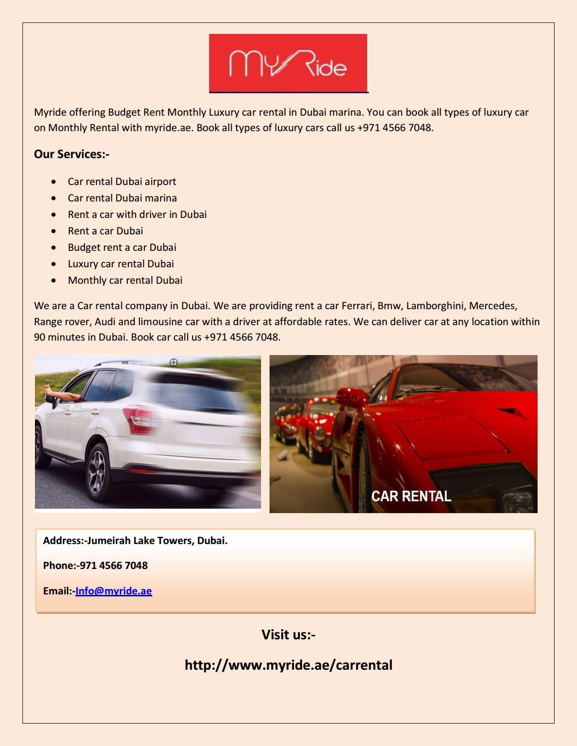 Myride Car Rental Dubai Airport Rent A Car Dubai Monthly Car