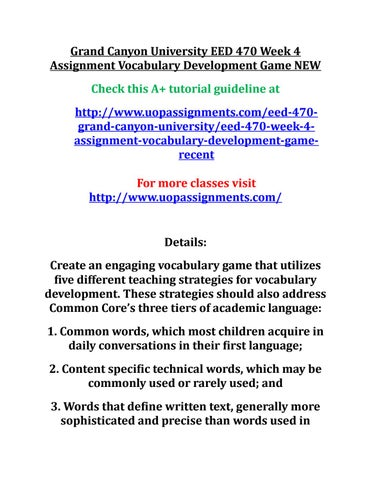 Grand canyon university eed 470 week 4 assignment vocabulary