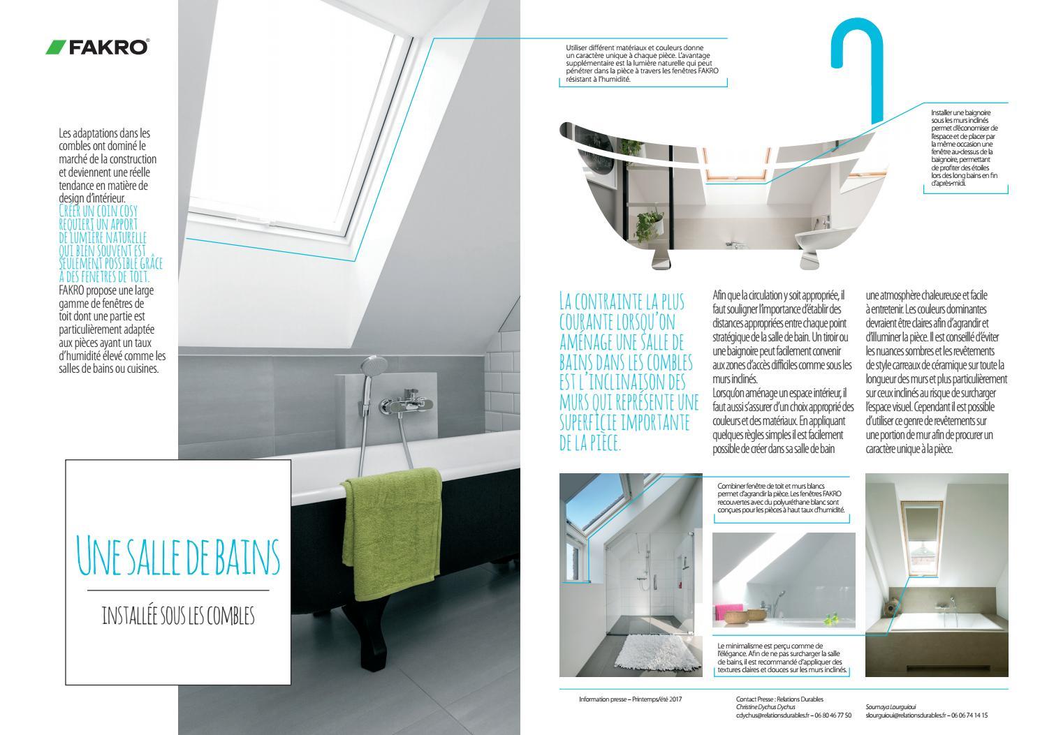 Installer Salle De Bains Combles une salle de bain installée sous les comblesfakro - issuu
