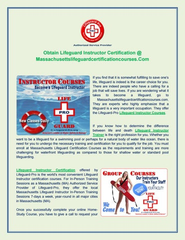 Lifeguard instructor certification by massachusetts - issuu
