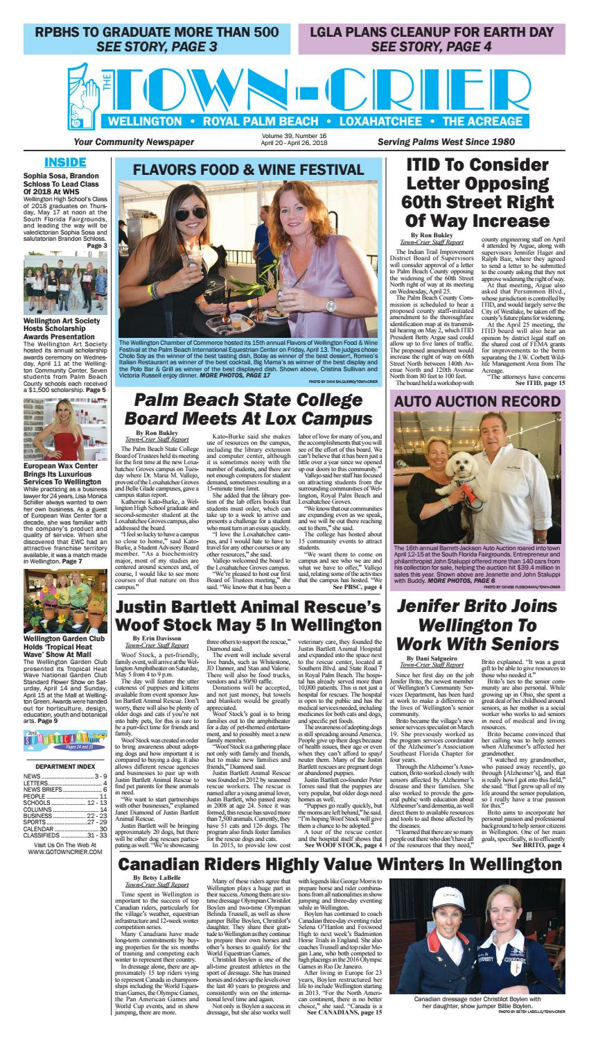 Town-Crier Newspaper April 20, 2018 by Wellington The
