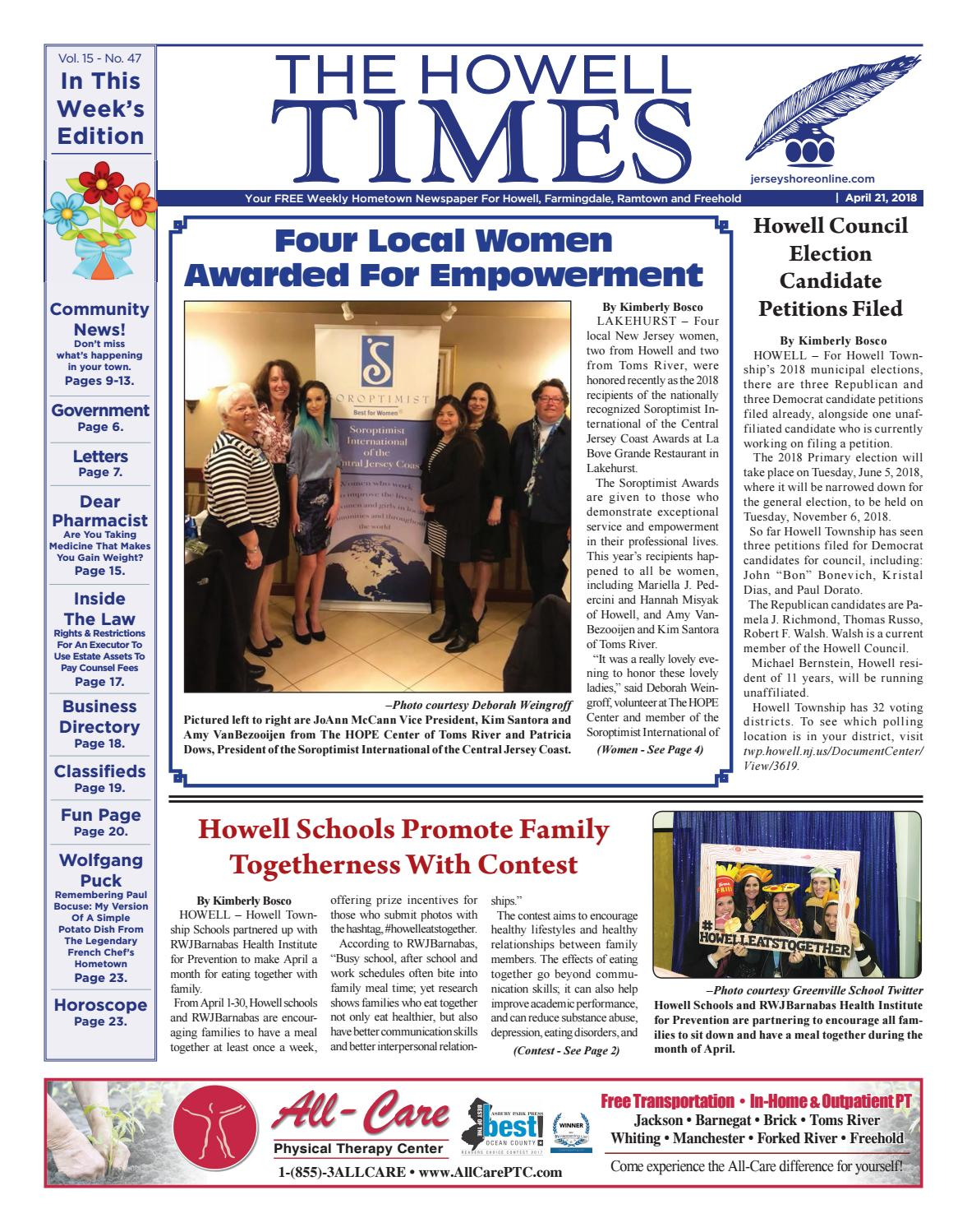 8b91e21011c 2018-04-21 - The Howell Times by Micromedia Publications Jersey Shore  Online - issuu