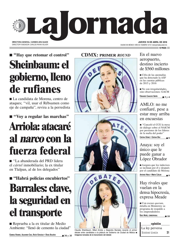 La Jornada, 04/19/2018 by La Jornada: DEMOS Desarrollo de Medios SA ...