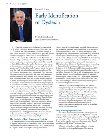 Page 10 of Early Identification of Dyslexia by Dr. John J. Russell