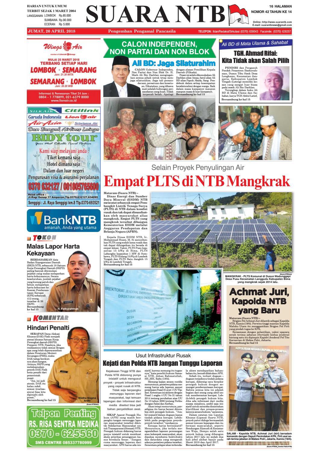Edisi Jumat 20 April 2018 Suara Ntb By E Paper Kmb Issuu Produk Ukm Bumn Wisata Mewah Bali 3hr 2mlm