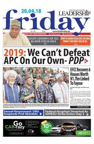 Leadership epaper 20th april 2018 by Leadership Newspapers