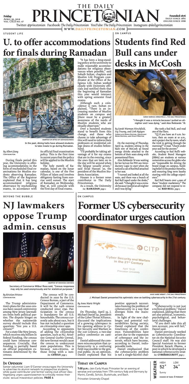 April 20 2018 Street By The Daily Princetonian Issuu Cyber Security News