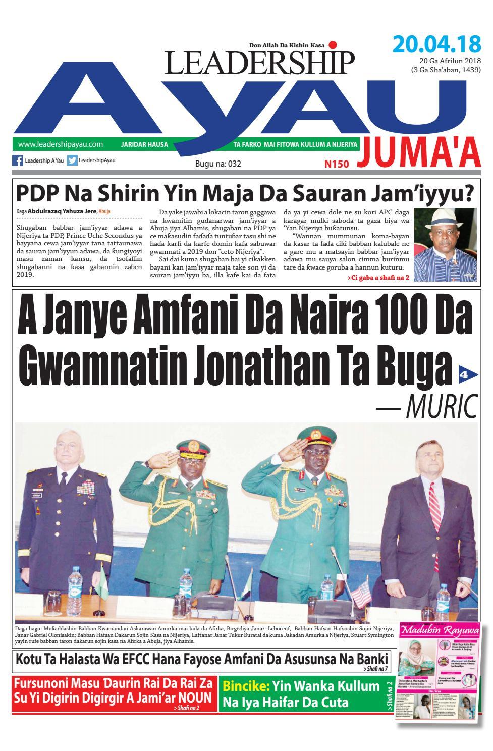 LEADERSHIP A Yau 20 Ga Afrilu 2018 by Leadership Newspapers