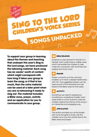 Sing To The Lord Songs Unpacked by The Salvation Army UK