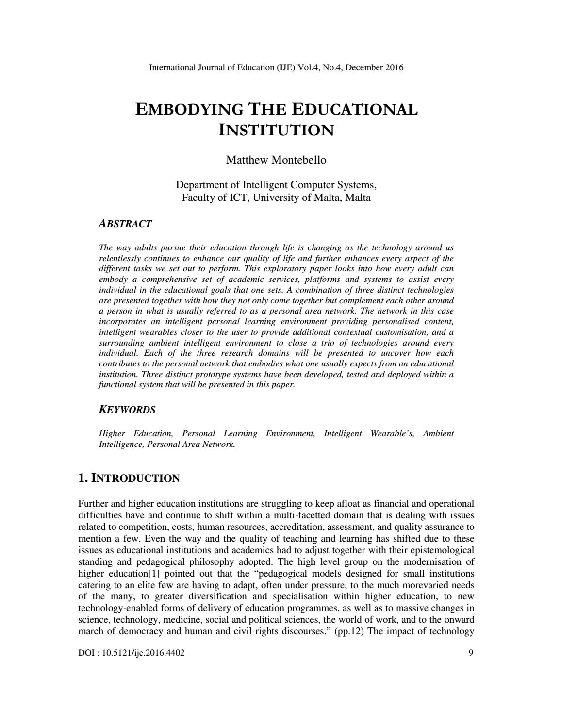 Embodying the Educational Institution by ijejournal - issuu