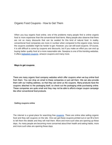 Organic Food Coupons How To Get Them By Save Plus Issuu