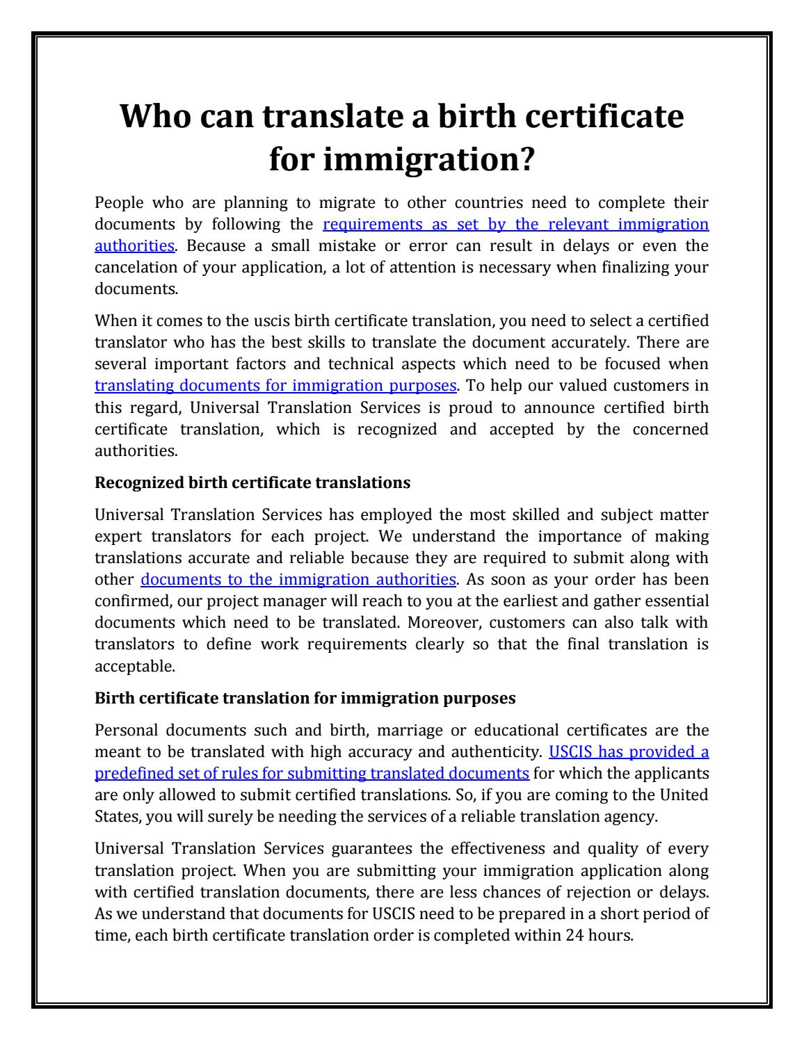 collection of solutions birth certificate translation template uscis