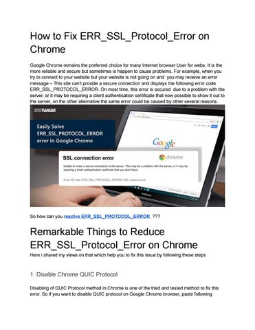 How to fix err ssl protocol error on chrome by linda rey - issuu