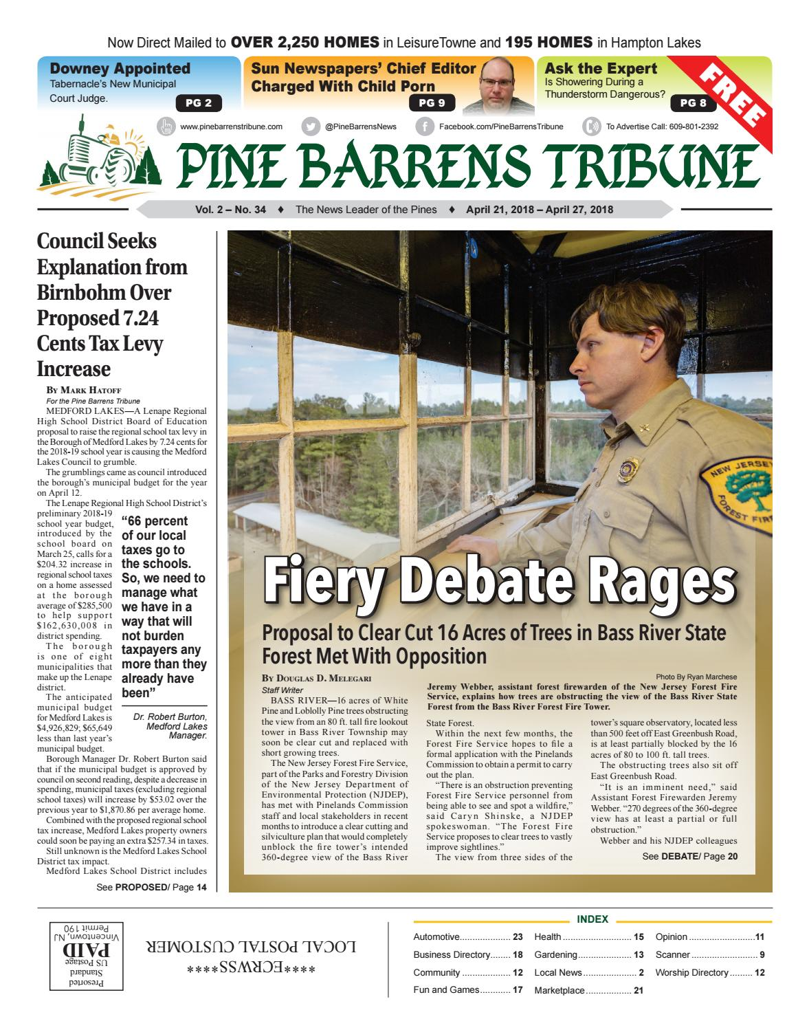 April 21, 2018 Pine Barrens Tribune by Pine Barrens Tribune