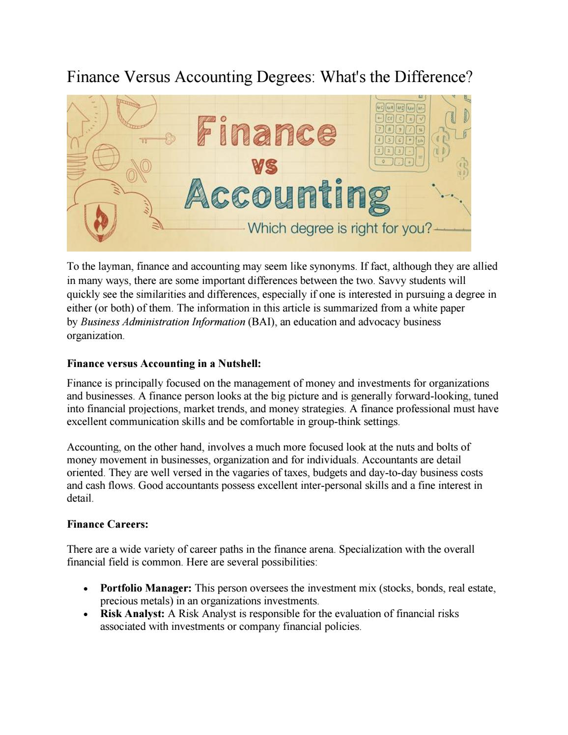 Finance Versus Accounting Degrees: What's the Difference? by