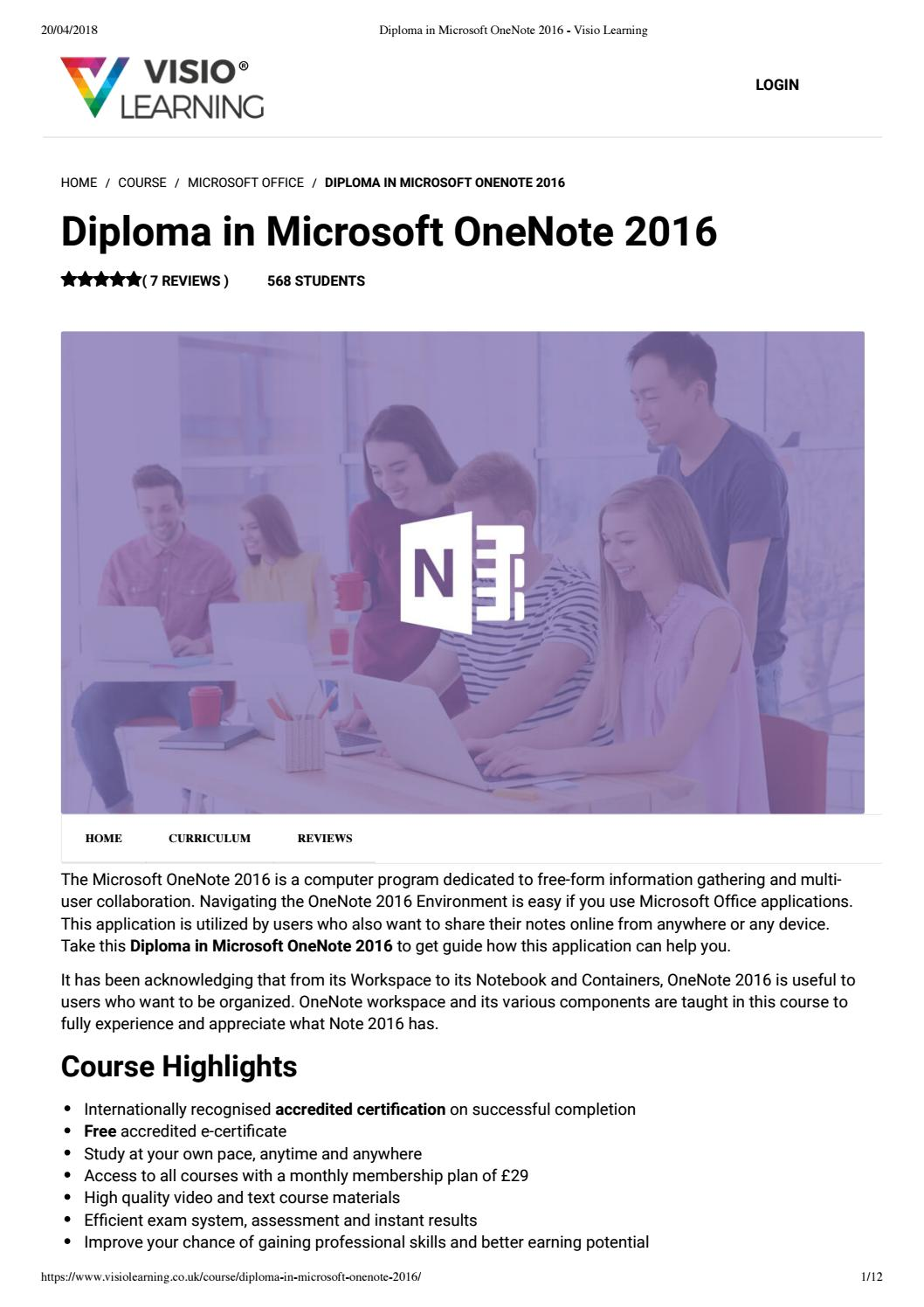 Diploma in microsoft onenote 2016 -Visio Learning by