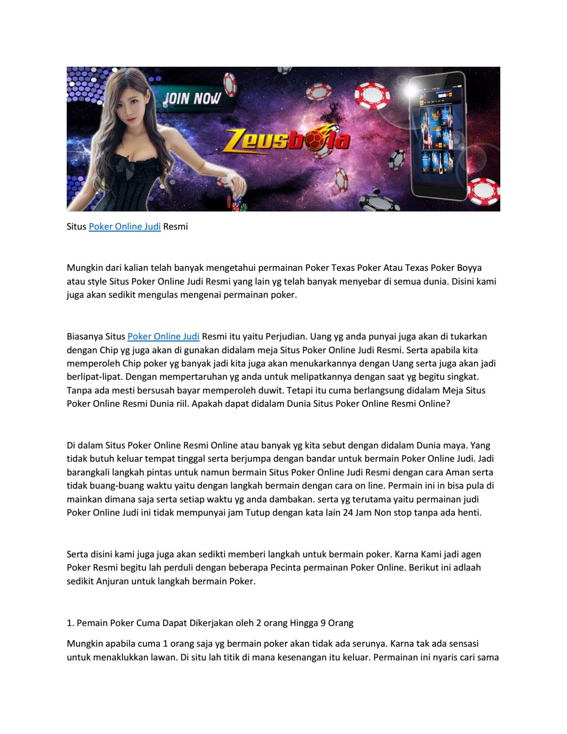 Situs Poker Online Judi Resmi By Raja Burung Issuu