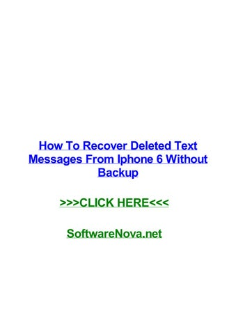 How to recover deleted text messages from iphone 6 without backup