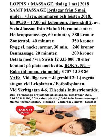 Massage på jägershill 2: 1 maj + lördagar from 5 maj kl