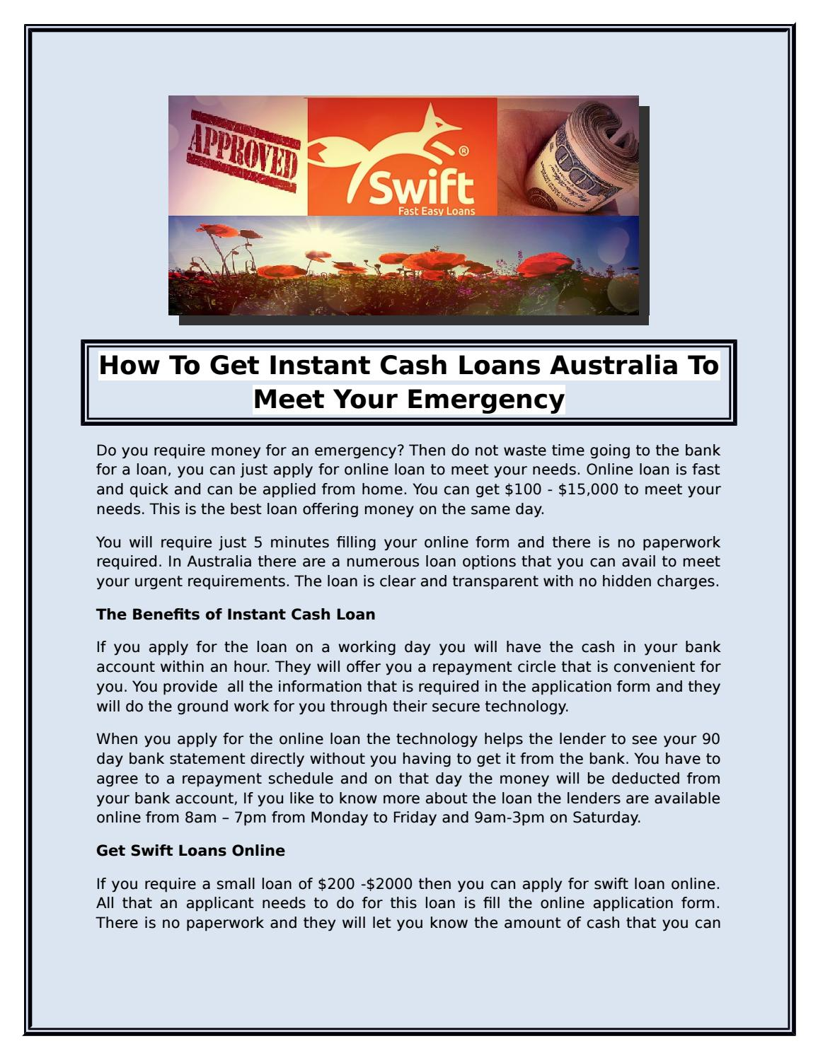 How To Get Instant Cash Loans Australia To Meet Your