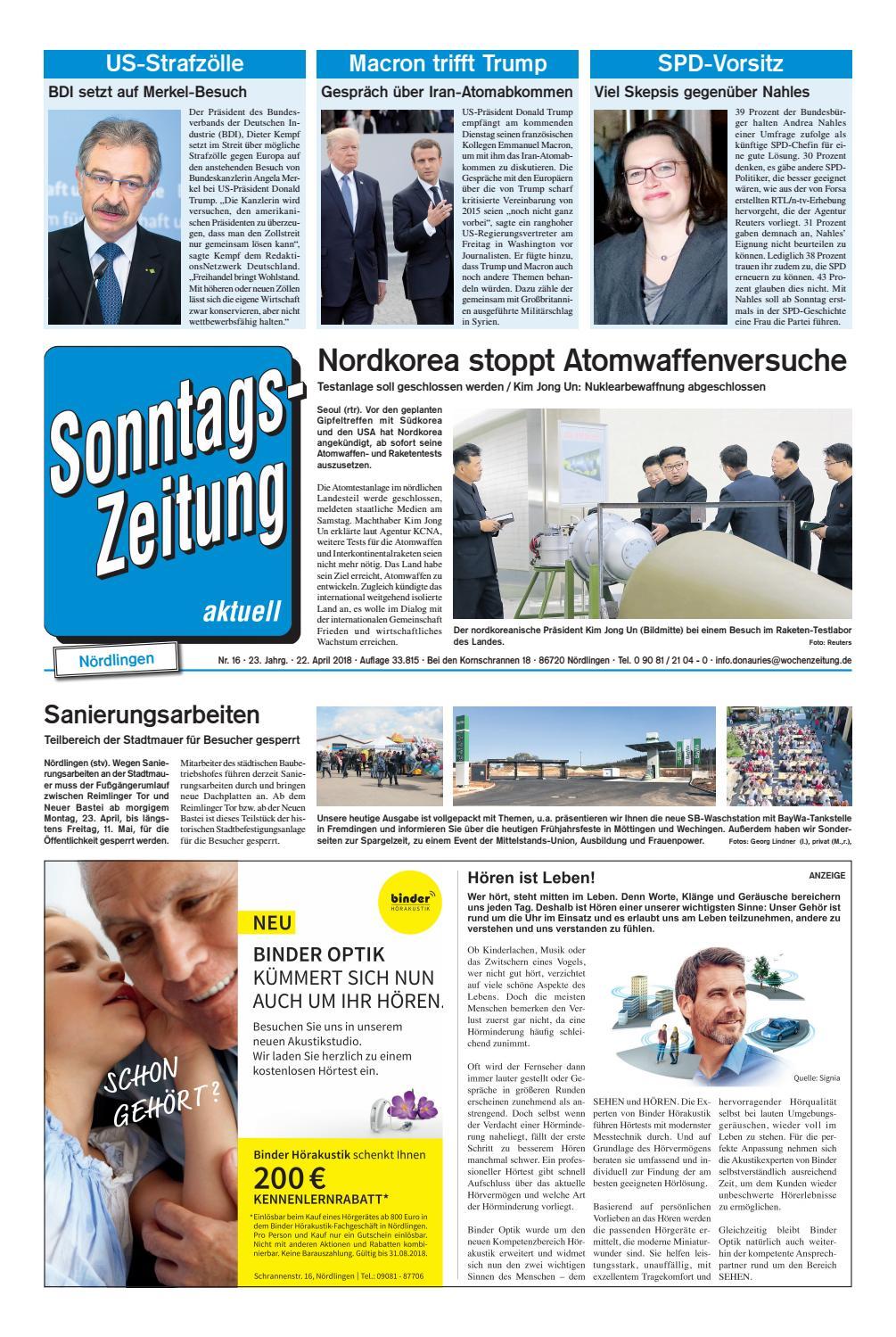 Sonntagszeitung Nordlingen Kw 16 18 By Wochenzeitung