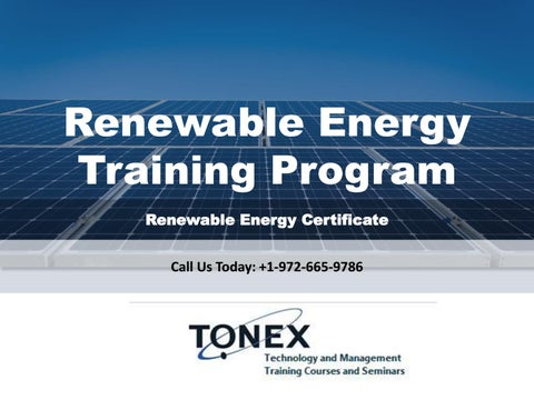 Renewable Energy Training Program and Certificate by Wesley Comal