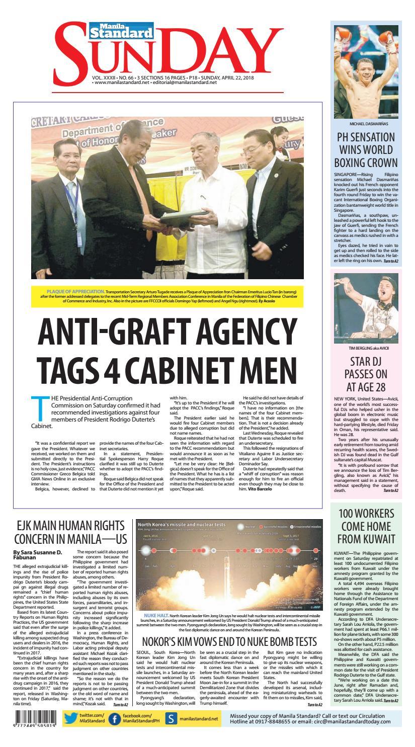 8a3e78b03d32 Manila Standard - 2018 April 22 - Sunday by Manila Standard - issuu