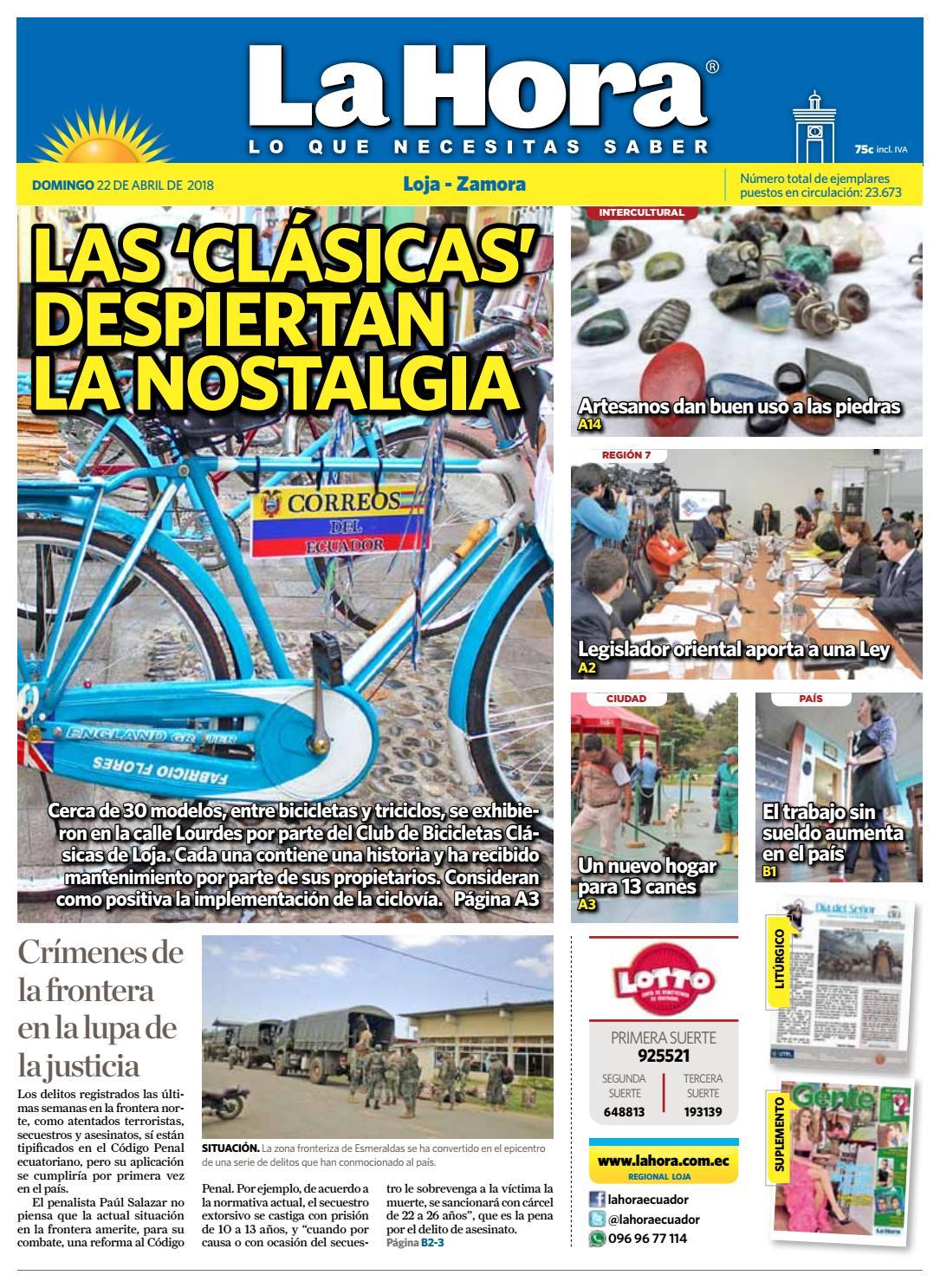 Diario La Hora Loja 22 de Abril 2018 by Diario La Hora Ecuador - issuu 5155a3ba69
