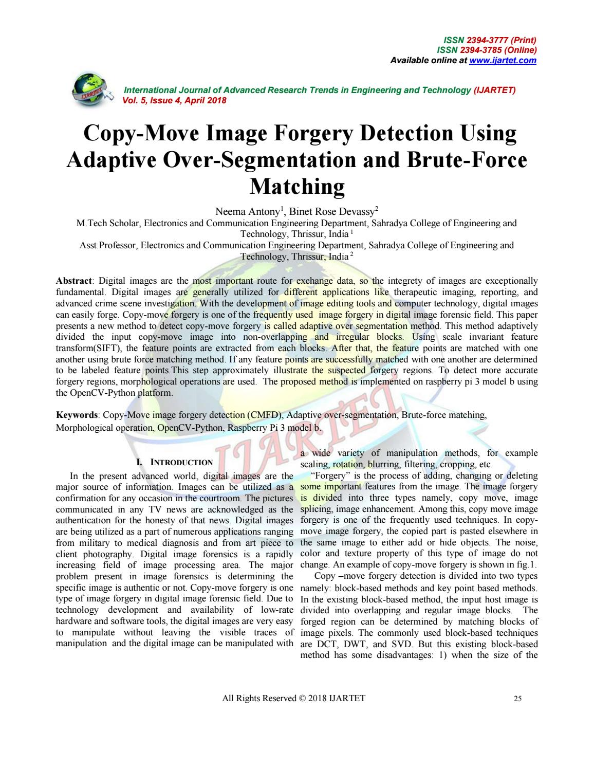 Copy move image forgery detection using by IJARTET - issuu