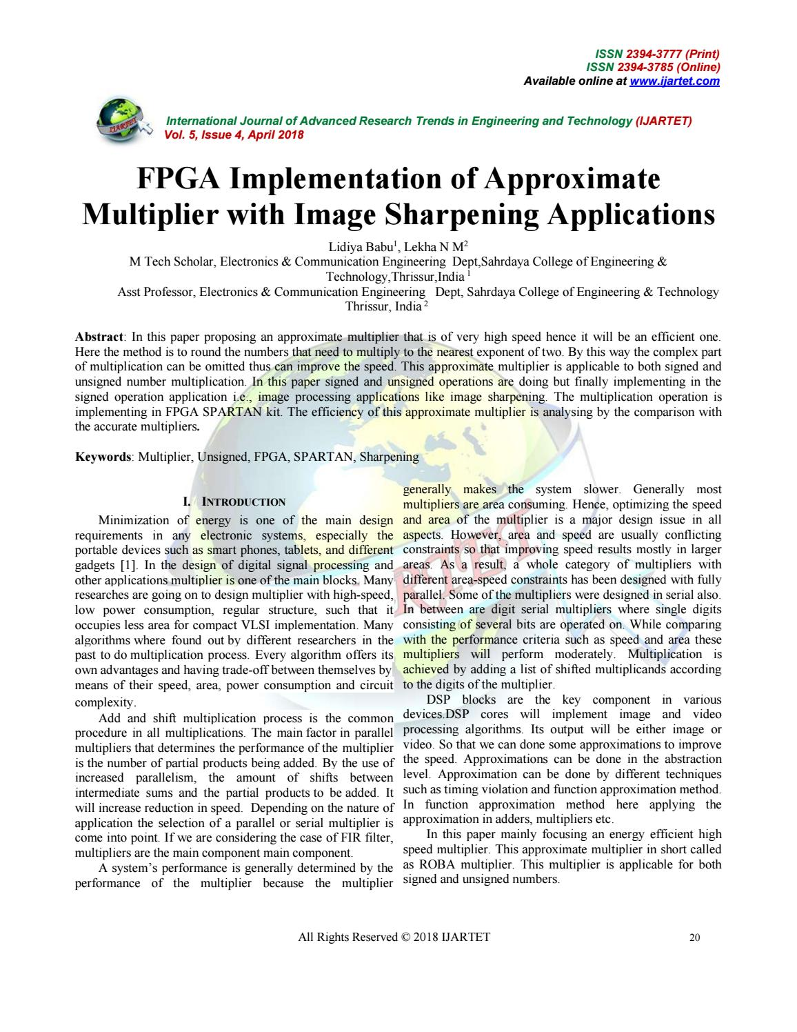 Fpga implementation of approximate multiplier with image