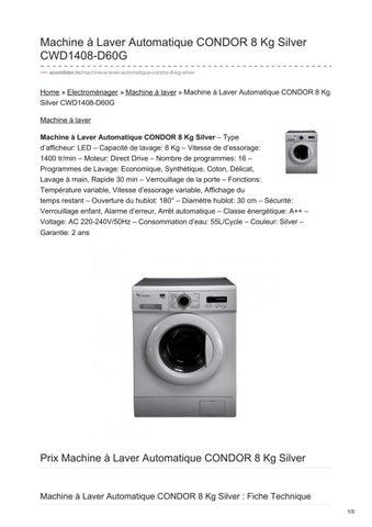 Machine à Laver Automatique Condor 8 Kg Silver Cwd1408 D60g By